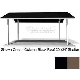 Gable 20X24 Shelter, Jet Black Square Columns, Terratone Multi Rib Roof