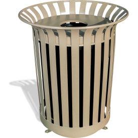 UltraPlay 36 Gallon Beige Lexington Receptacle w/Flat Lid & Liner, Trash Decal - LX-36FT-BGE-T