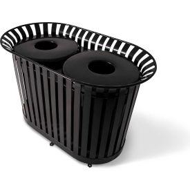 UltraPlay (2) 36 Gal. Beige LX Receptacle w/Flat Lid & Liner, Trash/Plastics Decal - LX-72FT-BGE-T/P