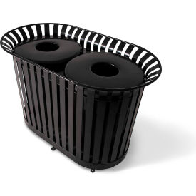 UltraPlay (2) 36 Gallon Black Lexington Receptacle w/Rain Bonnet Lid & Liner - LX-72RB-BLK