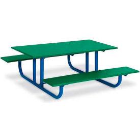 4' Preschool Green Polyethylene Table with Blue Frame