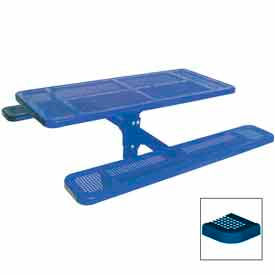 """6' Single Pedestal Table, Inground, Perforated 72""""W x 70""""D - Blue"""