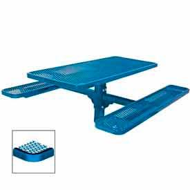 "6' Single Pedestal Table, Inground, Diamond 72""W x 70""D - Blue"