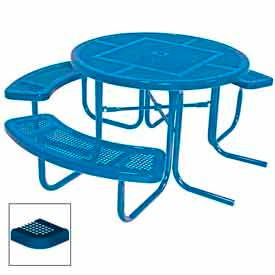 "3-Seat, 46"" ADA Round Table, Perforated 80""W x 63""D - Blue"