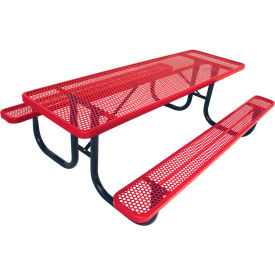 """6' Picnic Table, 2-3/8"""" Frame, Perforated, Red"""