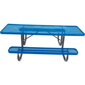 "8' ADA Picnic Table, Steel, Double-Sided, 2-3/8"" Frame, Perforated, Blue"