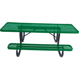 """8' ADA Picnic Table, Steel, Double-Sided, 2-3/8"""" Frame, Perforated, Green"""