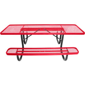 "8' ADA Picnic Table, Steel, Double-Sided, 2-3/8"" Frame, Diamond, Red"