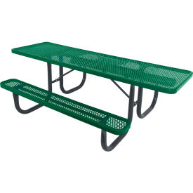 """8' ADA Picnic Table, Steel, Single-Sided, 2-3/8"""" Frame, Perforated, Green"""