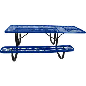 "8' ADA Picnic Table, Steel, Single-Sided, 2-3/8"" Frame, Diamond, Blue"