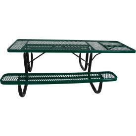 "8' ADA Picnic Table, Steel, Single-Sided, 2-3/8"" Frame, Diamond, Green"
