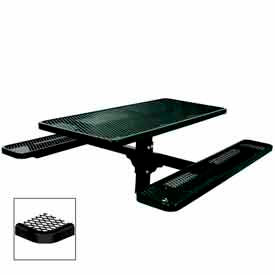 "6' Single Pedestal Table, Inground, Diamond 72""W x 70""D - Black"