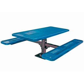 """6' Single Pedestal Table, Surface Mount, Diamond 72""""W x 70""""D, Perforated Metal - Blue"""