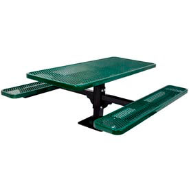 "6' Single Pedestal Table, Surface Mount, Diamond 72""W x 70""D, Perforated Metal - Green"