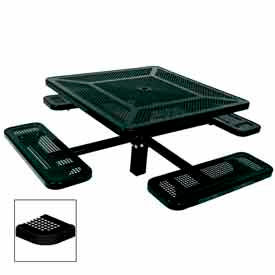 """46"""" Single Pedestal Square Table, Inground, Perforated 78""""W x 78""""D - Black"""