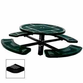 "46"" Single Pedestal Round Table, Inground, Perforated 78""W x 78""D - Black"