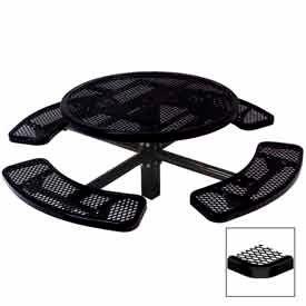 "46"" Single Pedestal Round Table, Inground, Expanded Metal 78""W x 78""D - Black"