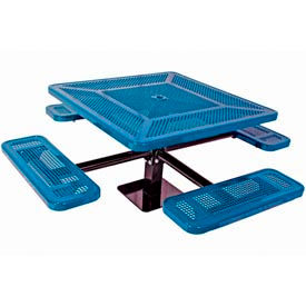 """46"""" Single Pedestal Square Table, Surface Mount, Perforated 78""""W x 78""""D - Blue"""