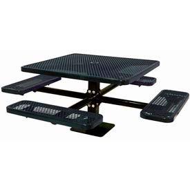 "46"" Single Pedestal Square Table, Surface Mount, Expanded Metal 78""W x 78""D - Black"