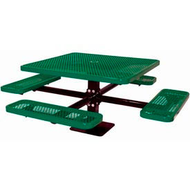 """46"""" Single Pedestal Square Table, Surface Mount, Expanded Metal 78""""W x 78""""D - Green"""