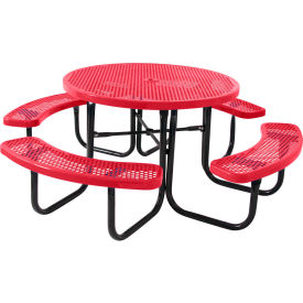 """46"""" Round Table, Perforated, Red"""