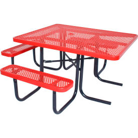"""46"""" ADA Square Table, Perforated, Red"""