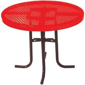"30"" High Food Court Round Table, Diamond 36""Diameter - Red"