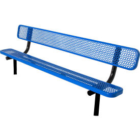 6' Bench with Back, Perforated, In Ground, Blue