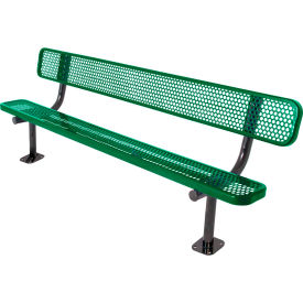 8' Bench with Back, Perforated, Surface Mount, Green