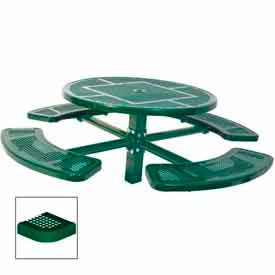 """46"""" Single Pedestal Round Table, Inground, Perforated 78""""W x 78""""D - Green"""