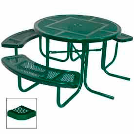 "3-Seat, 46"" ADA Round Table, Perforated 80""W x 63""D - Green"