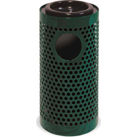 UltraPlay Metal Thermoplastic Coated Ash/Trash Receptacle, Perforated w/Liner, Green - PR-12AT-GRN