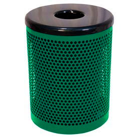 55 Gallon Thermoplastic Coated Perforated Pattern Trash Receptacle - Green