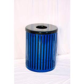 UltraPlay 55 Gallon Slat Trash Receptacle, Black - S-55-BLK