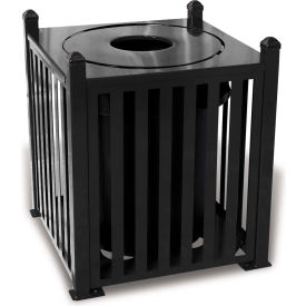 UltraPlay 32 Gallon Savannah Bow Receptacle w/Flat Top Lid & Plastic Liner - SV-B32FT-BLK