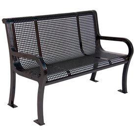 "4' Lexington Bench, Perforated 48""W x 25""D - Black"