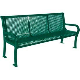 "8' Lexington Bench, Perforated 96""W x 25""D - Green"