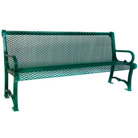 6' Charleston Bench With Back, Diamond - Green