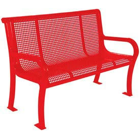 "4' Lexington Bench, Perforated 48""W x 25""D - Red"