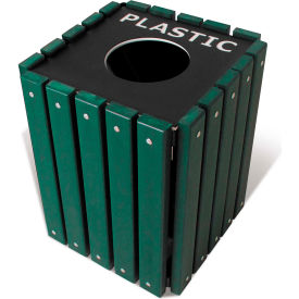 UltraPlay 20 Gallon Green Recycle Trash Receptacle w/Lid, Plastic - TRSQ-20-GRN-PL