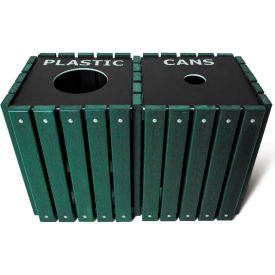 UltraPlay (2) 20 Gallon Green Recycle Trash Receptacle w/Lid, Trash/Glass - TRSQ-40-GRN-T/G