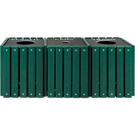 UltraPlay (3) 20 Gal Green Recycle Trash Receptacle w/Lid, Plastic/Trash/Paper - TRSQ-60-GRN-P/T/PP
