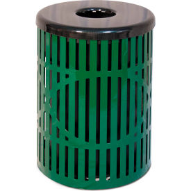 UltraPlay 32 Gallon Wave Trash Receptacle, Green - W-32-GRN