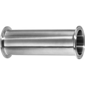 "4"" Long 316 Stainless Steel Straight Connectors for Quick Clamp Fittings - for 1/2"" Tube OD"