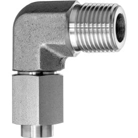 """316 SS 37 Degree Flared Fitting - 90 Degree Elbow Adapter for 1/2"""" Tube OD x 1/2"""" NPT Male Thread"""