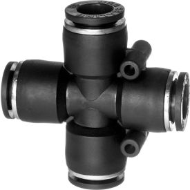 """Push to Connect Tube Fitting - Nylon Plastic - Cross Connector - 3/8"""" Tube OD - Pkg Qty 6"""
