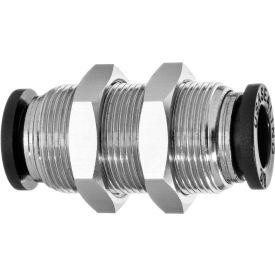 Push to Connect Tube Fitting - Nylon Plastic - Bulkhead Straight Connector - 6mm Tube OD - Pkg Qty 5