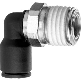 "Push to Connect Tube Fitting - Nylon Plastic - 90 Degree Elbow Adapter - 6mm Tube OD x 1/4"" NPT Male - Pkg Qty 7"