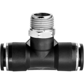 "Push to Connect Tube Fitting - Nylon Plastic - Tee Adapter - 3/8"" Tube OD x 3/8"" NPT Male - Pkg Qty 4"