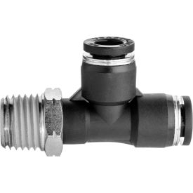"""Push to Connect Tube Fitting - Nylon - Right Angle Tee Adapter - 1/4"""" Tube OD x 1/8"""" NPT Male - Pkg Qty 8"""